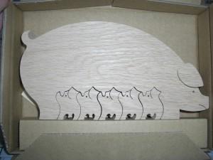 porquinos de madeira
